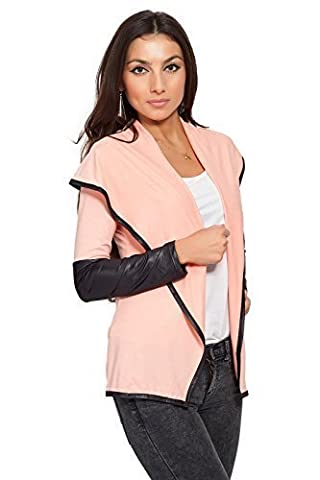 Futuro Fashion Elegance & Sensible Women's Jacket Blazer Style Eco LEATHER Cardigan 8080 Peach 18 UK (XXXL)