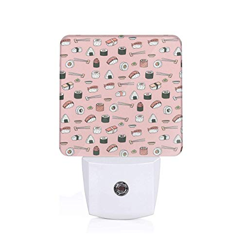 Sushi Japanese Food Cute Kawaii Cuisine Millenium Pink Plug-in Night Light Warm White LED Nightlight Dusk-to-Dawn Sensor for children-UK (Products Dawn Food)