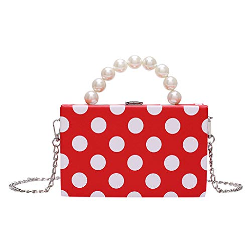Beautynie Frauen Tasche Schulter Messenger Bag Kette Handtasche Perle Welle Punkt kleine quadratische Tasche Mode Box Handytasche (Rot) -