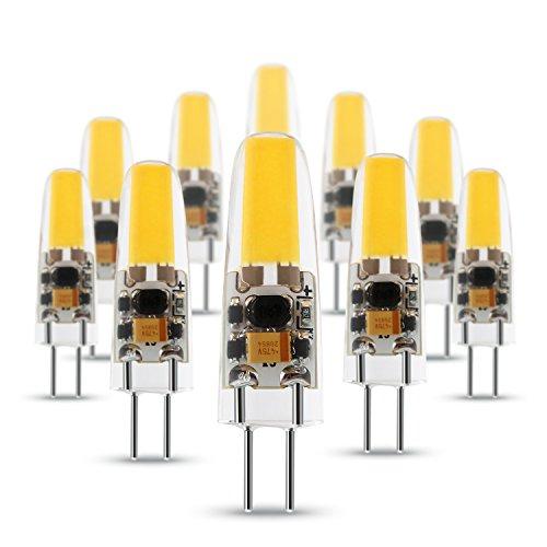 Albrillo 2W G4 LED Lampe COB nicht dimmbar, aus Silika Gel, Warmweiß (3000 Kelvin), 170 Lumen, AC/DC 12V, 10er Pack