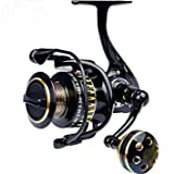Questquo Gear Ratio 5.0:1 Spinning Fishing Reel with Exchangeable Handle Automatic Folding for Casting Durable Left/Right Hand Swap Color Golden Bearing Quantity 12 Spool Capacity 3000 Series