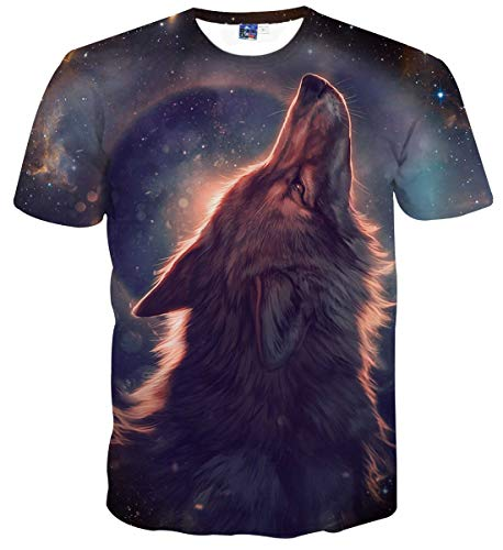 Sykooria T Shirt Kurzarm Herren Galaxis Wolf Hipster Lustig 3D Unisex Sommer Männer T-Shirt (T-shirts Teen Wolf)