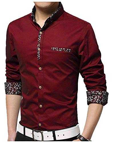 IndoPrimo Men's Cotton Casual Fancy Shirt for Men Full Sleeves (Red, Large - 42)