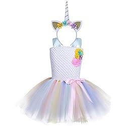 Disfraz de Infantil Unicornio YIZYIF Vestido Niña con Diadema Cosplay Para Fiesta Carnaval Actuación Ceremonia Tipo B 5-6 Años