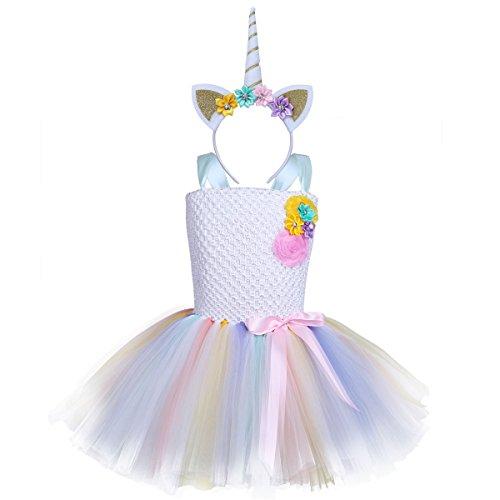 iEFiEL Einhorn Prinzessin Kostüm für Kinder - komplettes Einhorn Kostüm für Mädchen Kleid mit Einhorn Stirnband Zu Geburtstag Cosplay Kostüm Weiß + Gold Haarreif 110-116