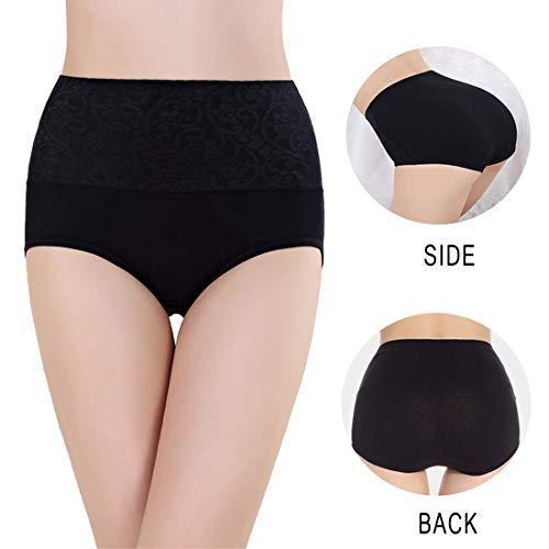 Misolin Bragas Talle Alto Algodón para Mujer Cómodo elástico Bragas Pantalones de Mujer Nergo Pack de 4 Tag 3XL