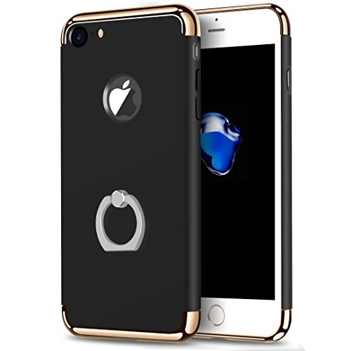 iPhone 7 Case, JOYROOM 3 in 1 ultra sottile e slim difficile custodia copertura con 360 anello rotante kickstand per iphone 7(Gold) Black