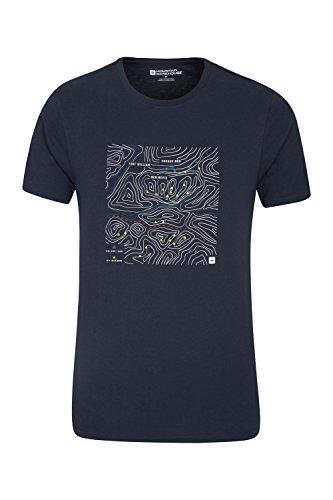Mountain Warehouse Ben Nevis Te de Grilla Mens - Camiseta Ligera del Verano, sequedad rápida, Breathable, impresión de la Calidad, Tapa fácil del Cuidado Azul Marino XX-Large