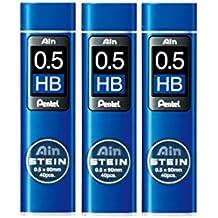 Set de 3paquetes de minas Pentel C275-HB para portaminas Ain Stein, 0,5 mm HB, 40 minas por paquete
