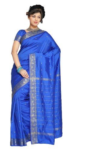 selecciones-de-la-india-encantador-azul-art-seda-saree-sari-tela-india-oro-frontera