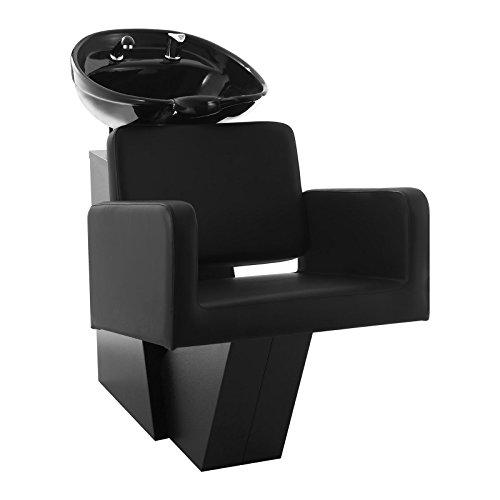 Physa termoli lavatesta parrucchiere professionale con poltrona sedia parrucchiere (imbottitura espanso, ecopelle, lunghezza tubo 75 cm, lavandino 50,5 x 60 cm, ceramica) nero
