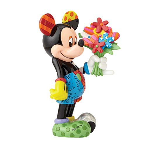 Disney Britto Collection Britto Mickey Mouse with Flowers Figurine, Resin, Multicolour, 12 x 12.5 x 21 cm -