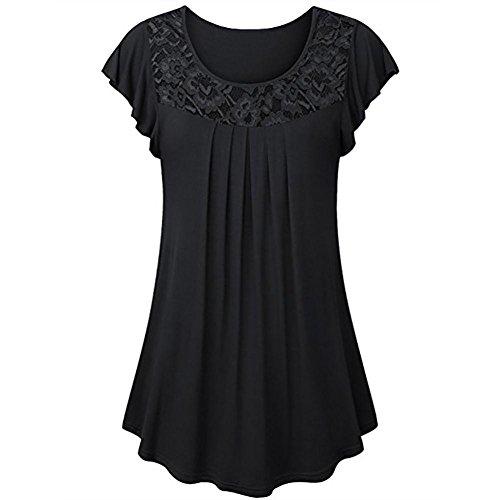 iHENGH Damen Solide Spitze Patchwork Geraffte Tank Top, Frauen Sommer Bluse Kurzarm Tops Shirt (Frauen Trikot Kleid Form)