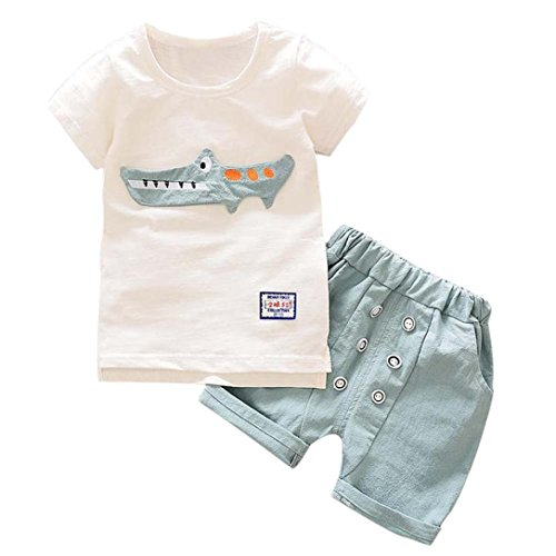 Baby Jungen Mädchen Outfits Kleidung Cartoon Print T-Shirt Tops + Shorts Hosen Set (Light Blue, 3...