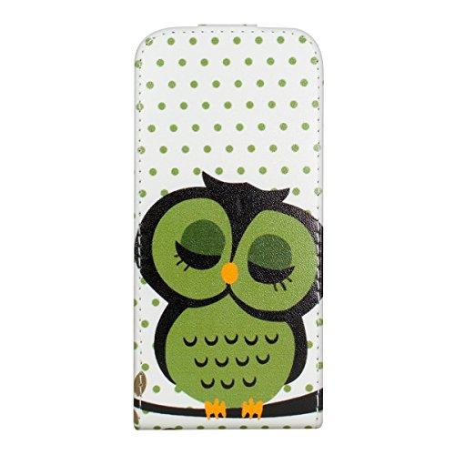 kwmobile Hülle für Apple iPhone SE / 5 / 5S - Flip Case Handy Schutzhülle Kunstleder - Flipcover Cover Schwarz Eule Schlaf Grün Schwarz Weiß