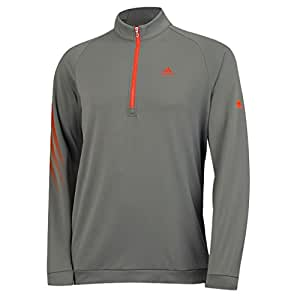2015 Adidas 3-Stripes Half Zip Fleece Logo Chest and Sleeve Training Top Mens Golf Cover-Up Vista Grey XL