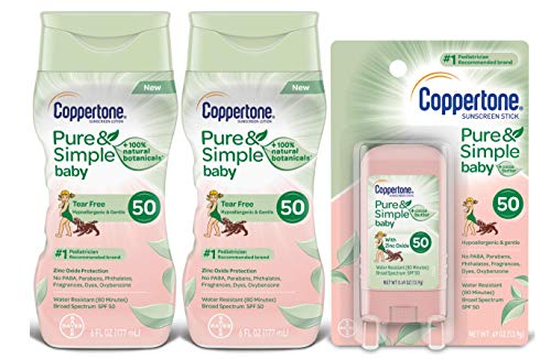 Coppertone WaterBabies Pure & Simple Mineral Based Lotion + Stick SPF 50 Multipack (6-Fluid Ounce Bottle, Pack of 2 + 1 .5-Ounce Stick)