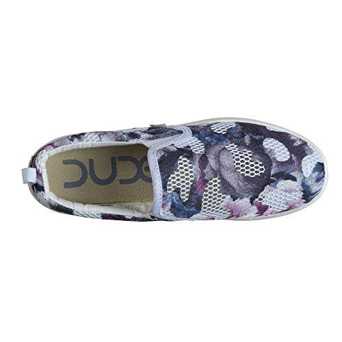Dude Shoes Women's Tyler Mesh Floral Slip On Bleu - bleu