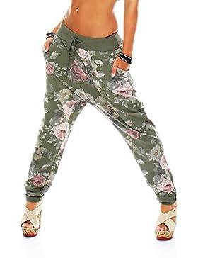 Malito Flores Print Pantalón Boyfriend Baggy Aladin Bombacho Sudadera 3304 Mujer Talla Única