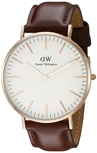 Daniel Wellington Classic St Mawes Rose Men's Quartz Watch with White Dial Analogue Display and Brown Leather Strap 0106DW