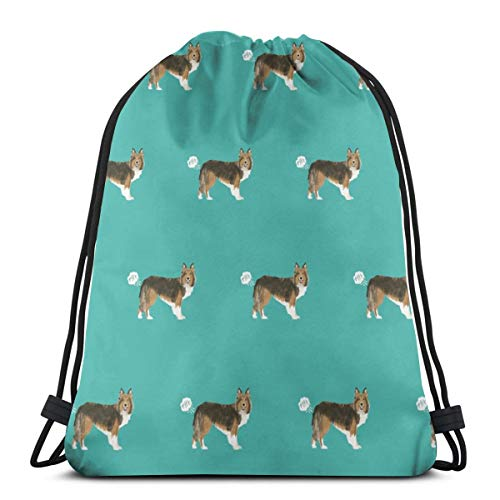 best gift Sheltie Funny Dog Fart Pets Pure Breed Dogs Teal_17225 Custom Drawstring Shoulder Bags Gym Bag Travel Backpack Lightweight Gym for Man Women 16.9