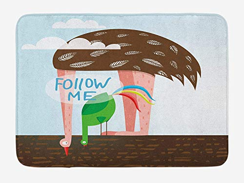 Quirky Bath Mat, Ostrich and Rooster Eating on Roof Birds with Long Necks and Follow Me Label Design, Plush Bathroom Decor Mat with Non Slip Backing, 23.6 W X 15.7 W Inches, Multicolor (Rv-monster-truck)