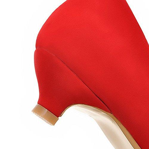 AllhqFashion Damen Niedriger Absatz Rein Ziehen Auf Spitz Schließen Zehe Pumps Schuhe Rot