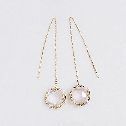 Mkxiaowei Schmuck Ohrringe Weibliche Peach Blossom Pulver Crystal Ohr Linie 9K Goldene Ohr Linie natürlichen Lotus Stein Ohrringe (Schmuck Lotus Blossom)