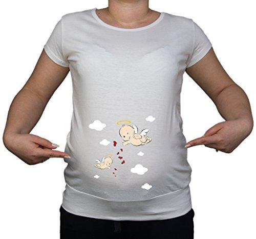 Grossesse/maternité Taille 10–20 Ange Cupidon T-Shirt Tunique Motif cœur Blanc - Blanc