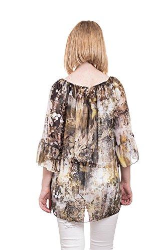 Abbino Maira Tops T-shirts Femmes - Fabriqué en Italie - Plusieurs Couleurs - Transition Printemps Été Automne Plaine Elegant Classique Vintage Casual Sexy Manches Courtes Uni - Taille Unique Boue Marron (Art. Maira)