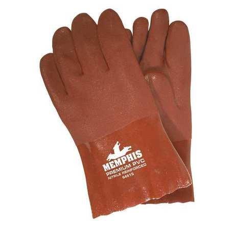 MCR Sicherheit 6451s doppelt getaucht PVC-Jersey gefüttert Schleifpapier Finish Herren Handschuhe mit 25,4cm Topfhandschuh, rot, groß (Jersey-handschuh Gefütterte Rote)