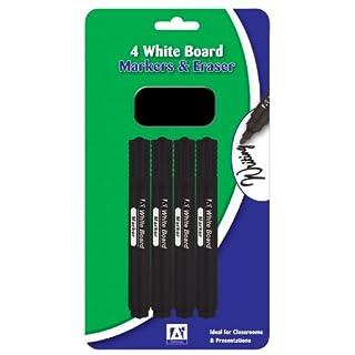 Anker International Stationary White Board Marker and Eraser (Pack of 4)