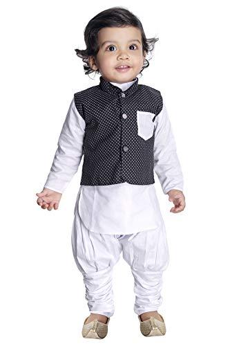 NEW GEN Baby Boy's Cotton Silk Kurta Pyjama with Half Jacket (B, White, 18-24 Months)