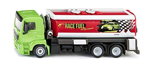 SIKU 2716, LKW mit Tankwagenaufbau, 1:50, Metall/Kunststoff, Grün/Rot, Ausrollbarer Tankschlauch (Spielzeug-lkw Tankwagen)