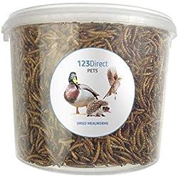 123Direct 5L - Premium Gusanos disecados para Comida de pájaros - Apto para Aves de Corral, erizos, Pollos, Patos, Peces, Reptiles y pequeños mamíferos
