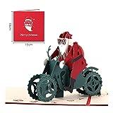 ZHOUBIN Handgemachtes Dreidimensionales Papier, Das Weihnachtskarte Motorrad Sankt Kreative Weihnachtsgeschenkkarte Danksagung Thanks 4 Blätter Satz Schnitzt