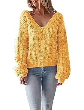 [Patrocinado]Prendas de Punto,ZARLLE Mujer Jersey de Punto Primavera Suéter de Cuello V de Espalda de Las Mujeres Knit del...