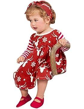 Longra Neugeborene Baby Mädchen Deer Striped Prinzessin Kleid mit Stirnband Baby Mädchen Weihnachten Karneval...