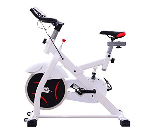 Homcom – Cyclette per Spinning Professionale con Schermo LCD 105 × 49 × 119cm Bianco