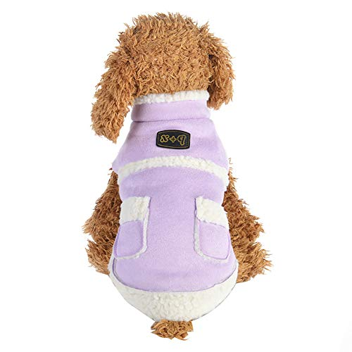 CricTeQleap Haustier Kleidung, warme Herbst Winter Hund Welpen Chihuahua Plüsch Bekleidung Kostüm Purple XS