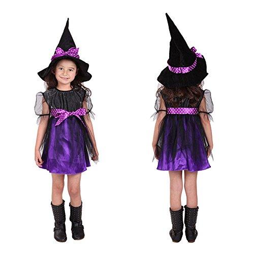 Halloween Hexe Role Party Kleider - Wishtime Halloween Fancy Kleidung Kostüm Kleid Party Kleider und Hexen Hut mit Besen Outfit für Mädchen Kids - Lion Kostüm Mädchen Halloween