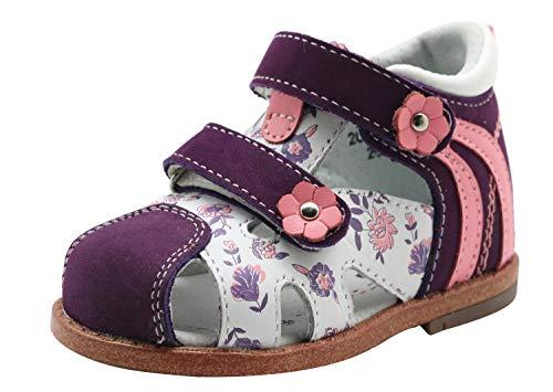Apakowa Sandali di Cuoio Chiusi della Bambina, Scarpe Estive per Ragazze (Color : Purple, Size : 19 EU)