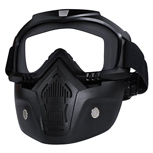 Casco da moto con occhiali, maschera rimovibile, staccabile, caldo antinebbia occhialini, filtro bocca regolabile, cinghia antiscivolo vintage, Harley Bullet Fight motocross, Whit