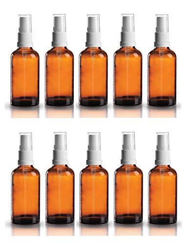hflasche aus Braunglas Zerstäubereffekt 10 teilig | Füllmenge 50 ml | Fingerzerstäuber Sprühflaschen Pumpsprüher Kleine Glasflaschen Parfümzerstäuber Made in Germany ()