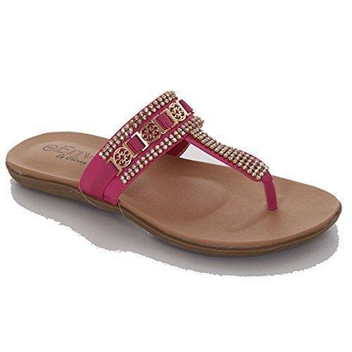 FANTASIA BOUTIQUE Damen, ® Goldwölbung komfortabel Sommer Thong Sandalen Schuhe Rosa