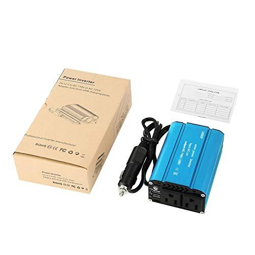 400w Auto Power Inverter (LESHP Compact 400W Auto Power Inverter DC 12V bis 110V AC Dual USB-Lade Ports mit Auto-Ladegerät Tragbares Converter (blau))