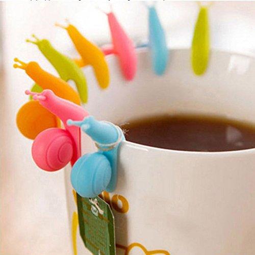 Topker 6Pcs / Satz-Farben-gelegentlicher Tee-Werkzeug-Schalen-netter kleiner Schnecke-Erkenner-Vorrichtung Tee-Infuser-Tasse Tee-hängende Tasche