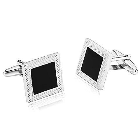 AMDXD Jewelry Stainless Steel Men Cufflinks Silver Black Rope Edge