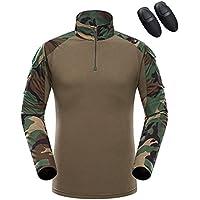 haoYK Combat Militaire T-Shirt de Paintball avec Poches T-Shirt BDU à  Manches 800c27edfe2