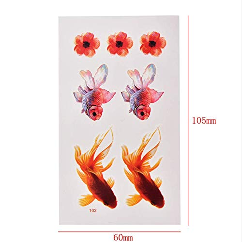 e Goldfish Goldfish Blume Wasserdicht Temporäre Tätowierung Mädchen Tattoo Aufkleber Tattoo Fake Tattoo ()
